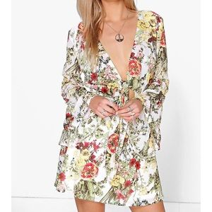 BooHoo Floral Bell Sleeve Dress